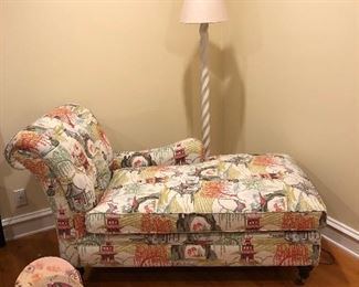 Upholstered Chaise on Casters