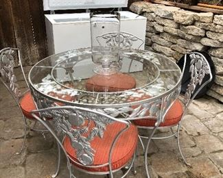 Glass Top Outdoor Dining Table and Chairs