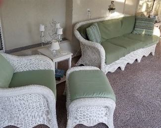 Gorgeous wicker patio set in a climate-controlled environment