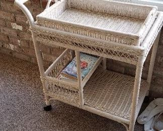 Beautiful wicker tea cart
