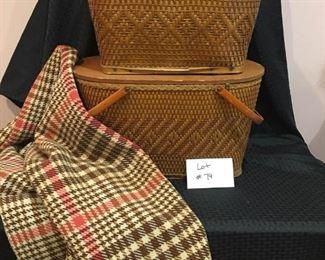 Vintage Wooden Picnic Baskets and Blanket https://ctbids.com/#!/description/share/292060