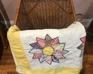 Vintage Hand Made Quilt and Basket https://ctbids.com/#!/description/share/292076