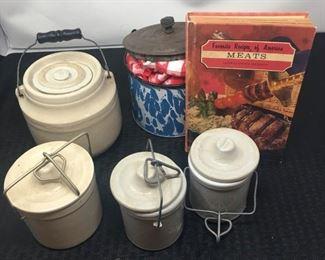 Assortment of Ceramic Canisters and one Tin Pot https://ctbids.com/#!/description/share/292084
