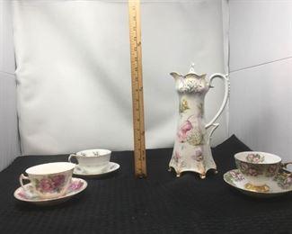 Flower Tea Pot & Tea Cups https://ctbids.com/#!/description/share/292091