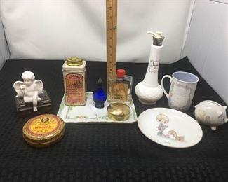 Precious Moments & Antique Perfume Tray w/ Collectible Tins https://ctbids.com/#!/description/share/292094