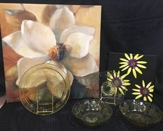 Yellow Glass Plates & Bowls and 2 Prints https://ctbids.com/#!/description/share/292098
