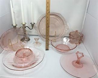 Pink Depression Glass & Candelabra https://ctbids.com/#!/description/share/292100