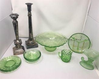 Green Depression Glass & Silver Candlestick Holders https://ctbids.com/#!/description/share/292102