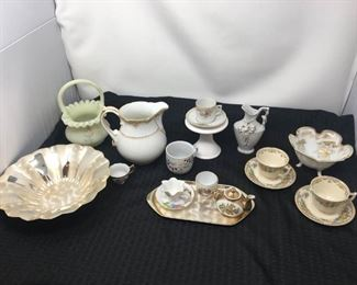 Signed Fenton Ruffled Basket, Bone China Tea Cup Sets, Silver Set & Other https://ctbids.com/#!/description/share/292106