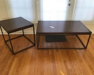 Metal Leg Wood Top Coffee and End Table