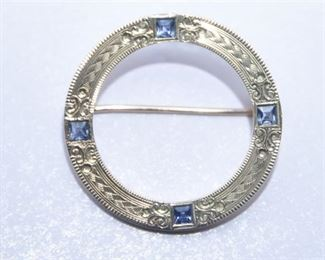 1. 14 Karat Gold and Sapphire Dress Pin