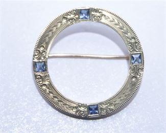 1. 14 Karat Gold and Sapphire Dress Pin