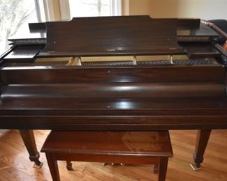 Beautiful Hardman Peck Standard Baby Grand Piano. Hardman Peck was a piano manufacturer established in New York City in 1842 by Hugh Hardman. Hugh's brother John joined the company in 1874 and Leopold Peck became a partner in 1890. In 1890 the name was changed to Hardman, Peck & Co.  Hardman was considered one of the distinguished piano manufacturers of this era, with a worldwide reputation for the utmost in reliability. Hardman pianos were noted for their technical qualities, for their purity, delicacy, the artistic beauty of their cases, and for their remarkable durability. Hardman pianos were once the official piano of the Metropolitan Opera Company in New York. The serial number on this piano identifies it as being manufactured between 1947  and 1952