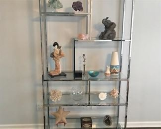 Modern Chrome and Glass Floating Shelf Etagere in the manner of Milo Baughman.  Clean modern lines that would be perfect for your modern decor.  All accessories for sale separately.