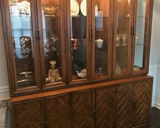 American of Martinsville buffet/lighted china cabinet.  This is 2 pieces.  Can be used as a buffet with top cabinet.