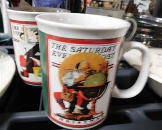2 Vintage Norman Rockwell Saturday Evening Post christmas themed mugs
