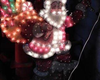 Vintage lighted 2 piece out Santa