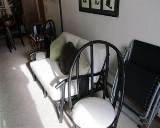 Pr modern chairs, 2 seat settee, like new condition