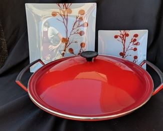 Cast Iron Wok by Le Creuset with Two Decorative Plates