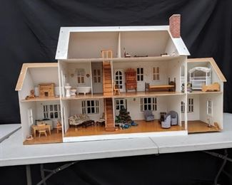 Wooden Doll House with Furnishings
