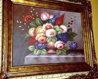 M.Aaron original vintage 2pc. Floral stillife