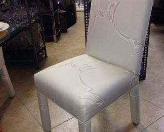 4 white on white Parsons Chairs
