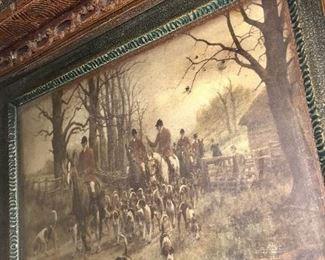 Tall Vintage Mirror w/Hunting Scene