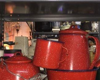 Vintage Red Enamel 4pc. Set