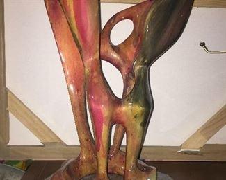 Wood Carved Modern Sculpture Signed