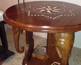 Vintage Elephant Table w/inlaid Design