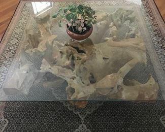 teak root coffee table $700