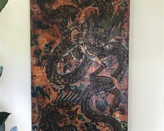 antique Chinese door with wrapped with leather dragon art $1000