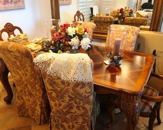 Stunning carved wood, inlaid dining set in pristine condition