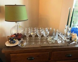 Beautiful crystal stemware, silver, etc.