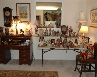 Antique leaded lamp, Bronzes and pot metal figures,