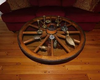 Wagon Wheel Table with Assorted Brass