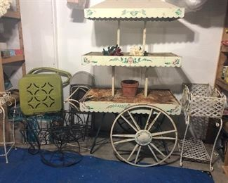 METAL ANTIQUE LAWN DECOR, AWESOME 3 TIER METAL CART