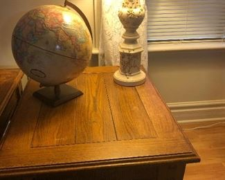 WOOD END TABLES, LAMPS, GLOBES