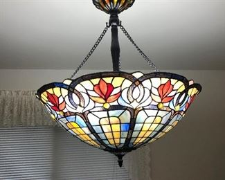 LARGE STAINED GLASS CHANDELIER