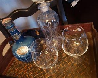 Scotch, whiskey, vintage, glasses, tray
