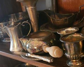 silver, serving pieces, vases