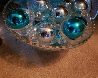 blue, ornaments, punch bowl, glasses, shiny