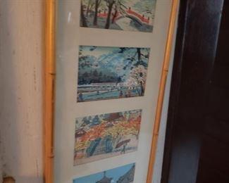 watercolor, framed, mat, Oriental