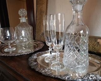 cut, crystal, silver, tray, decanter, glass