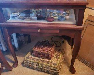 display table, curio table, trinket, basket, boxes, silver, ink