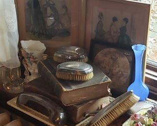 antique, brushes, vase, drawings, blue, vase