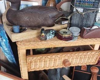 duck, decoy, side table, wicker