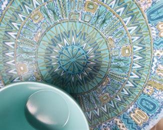 melamine, pattern, blue, bowl