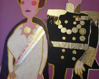 king, queen, painting, royalty, purple, gold, shiny