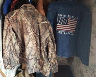 hunting, jacket, denim, North American Hunting club, flag, camouflage, men's